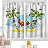 Cortinas de dormitorio para la playa, hamaca con sombra de palmera de 52 x 54 pulgadas, bolsillo para barra de cortinas