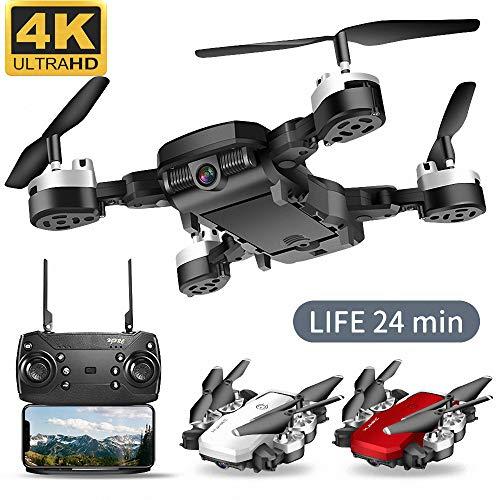Qnlly WiFi FPV Batería de Larga RC Aviones no tripulados Gran Angular Selfie Quadcopter Altitud Aviones no tripulados con la cámara 4K 2,4 GHz Deone con Bolsa de Almacenamiento,Negro