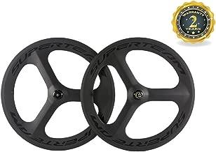 Superteam Road Bike 3 Spoke Wheelset 70mm Clincher Carbon Wheel with Matte Finish
