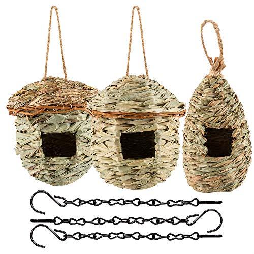 iToplin Hummingbird House, Set of 3 Grass Hand Woven Birdhouses Nest for...