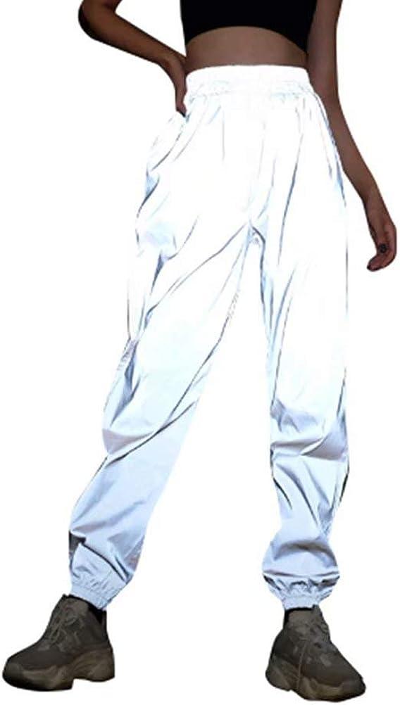 Frecoccialo Pantalones de chándal Reflectantes para Mujer, Impermeables, Cortavientos, pantalón Largo para Mujer