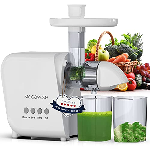 MEGAWISE Slow Masticating Juicer, 9 Segment Spiral 2 Speed Modes Juicer Machines for Vegetables and Fruits, Cold Press Juicer Extractor with Reverse Function, Easy to Clean with Brush, BPA-Free