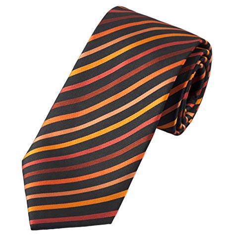 Puccini Herren Clip-Krawatte, vorgebundene Ansteckkrawatte, ideal als Sicherheitskrawatte, Security, Junggesellenschied, Homeoffice (Schwarz/Orange)