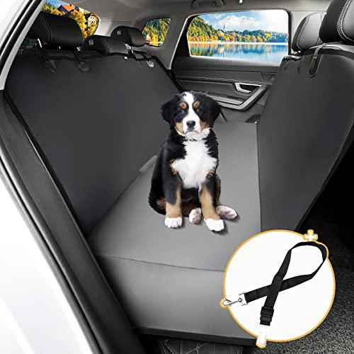 Toozey Hundedecke Auto Rückbank mit Seitenschutz, wasserdichte Kratzfest Autoschondecke Hund Rücksitz mit Anschnallgurt für Auto/Kombis/Van/SUV, 147x137 cm, Schwarze Kante