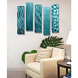 Statements2000 Aqua Metal Wall Art Decor, Set of Five 24 x 6 Wall Art Sculptures, Contemporary Décor by Jon Allen Metal Art