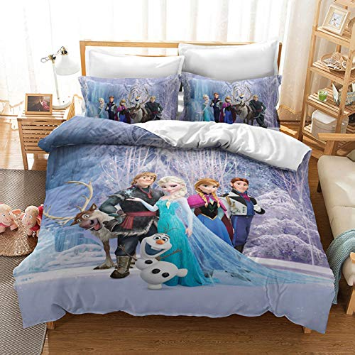 HLSM Disney Frozen Duvet Quilt Cover for Girls,Cartoon Character Elsa Anna Olaf Print Microfiber Bedding Set,for Teens Adults Single Double king Bed (A04,220X240CM)