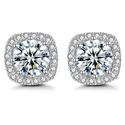 Earring White Gold Plated Studs ,925 Sterling Silver Halo Cubic Zirconia Earrings For Women Girls