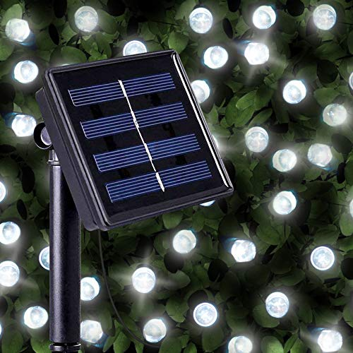 200 Bright White LED Solar Powered Fairy Lights - Waterproof Solar Decoration String Lights with Built-in Night Sensor - for Christmas, Outdoor, Garden, Fence, Patio, Yard, Walkway, Driveway, Shed, Garage, Path, Ornament, Stairs and Outside by SPV Lights: The Solar Lights & Lighting Specialists (Free 2 Year Warranty Included)