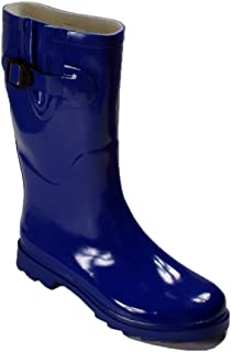 Womens Multiple Styles Rain Snow Winter Flat Rubber Mid Calf Short Rainboot