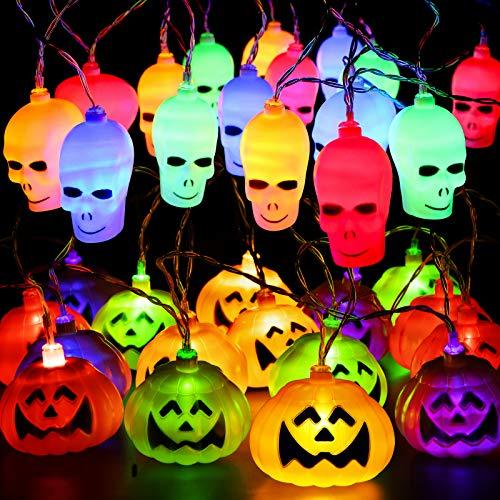 CPPSLEE Halloween Decorations Lights, 32 LED Halloween Pumpkin Skull Lights, 2 Modes Hanging Halloween Lights String Battery Operated
