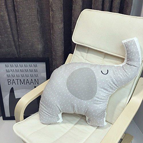 Zinsale Cartone animato Gettare il cuscino decorativo Animale ripieno Cuscino posteriore Cuscino del divano (Elefante)