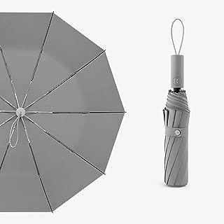 Automatic Umbrella Household Folding Umbrella Men's Personality Rain and Rain Umbrella Large Automatic Umbrella Four Colors Optional Huhero (Color : Gray)