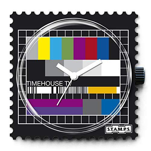 S.T.A.M.P.S. Stamps klok compleet - wijzerplaat test patroon met grijze leren armband
