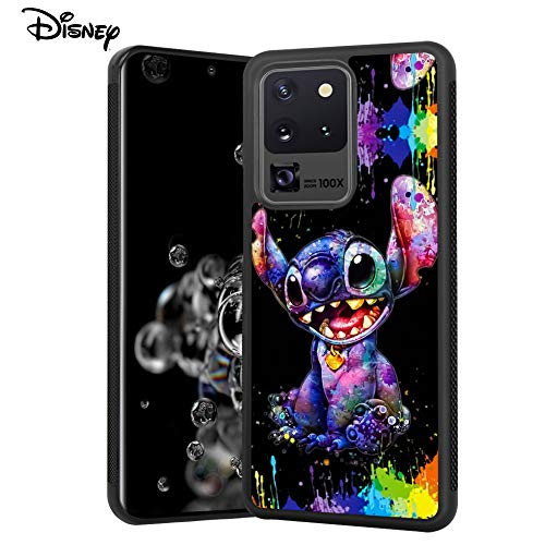 DISNEY COLLECTION Stitch Scrawl Design Tired Case for Samsung Galaxy S20 Ultra 5G 6.9 Inch Shockproof Soft TPU Side and PC Back Samsung Galaxy S20 Ultra Case Non-Slip Cover