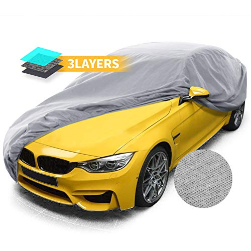 Car Covers, Auto Vehicle Covers for Indoor Grey Car Cover Dust-Proof Anti Bird Dropping Tree Leaves Windproof Car Tarp 200'