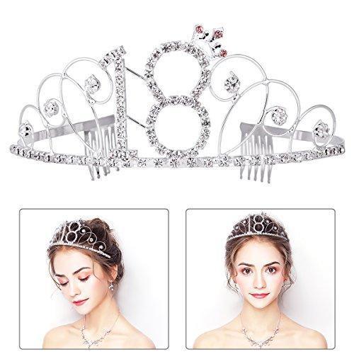 Frcolor Krone 18 Geburtstag Silber Kristall Geburtstag Tiara Prinzessin Geburtstag Krone zum 18. Geburtstagsfeiern, mit Glitzersteinen