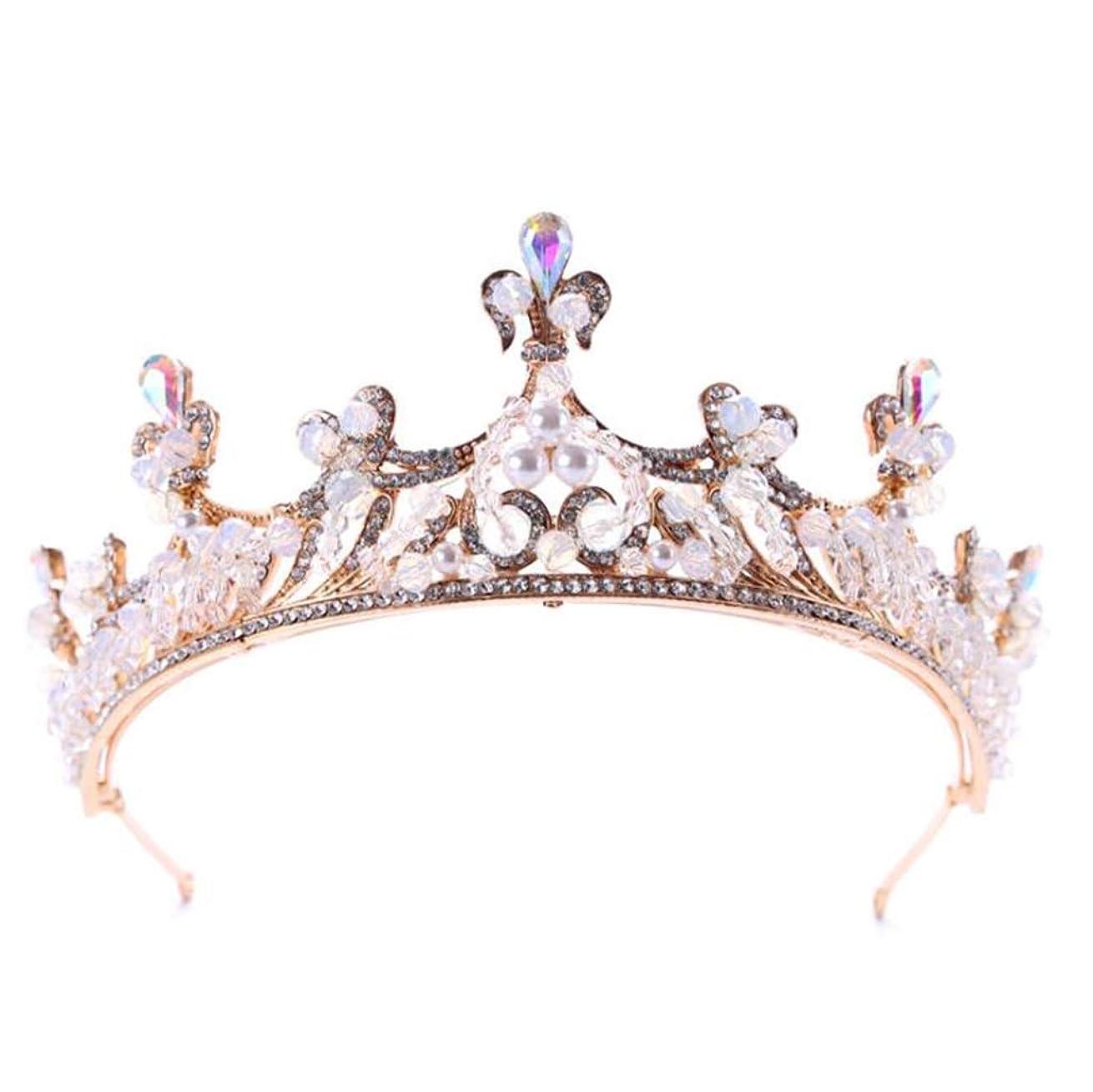 造船最も遠い賭けクラウン花嫁クリスタルクラウン天使の羽王女ティアラブライダルティアラヘッドバンドウェディングジュエリー (色 : A)