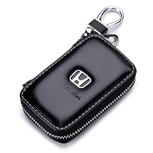 Car Case Remote Key Bag - Leather Black Car Keychain Wallet Bag Case For Key Chains Holder For Honda Cars