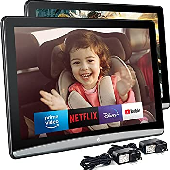 10.6 Inch 4K Android 9.0 Universal Headrest Monitor Video Player for Car TV Touch Screen Support 1080P Headset WiFi/Bluetooth/USB/SD/HDMI in/FM/Airplay NO DVD 2G ram+16G ROM  2 PC   2 x Monitor