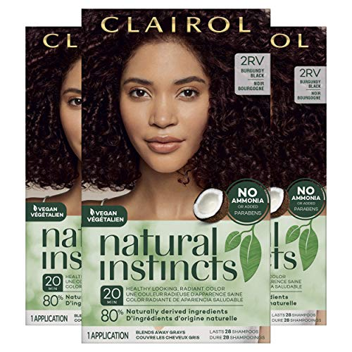 Clairol Natural Instincts Semi-Permanent, 2RV Burgundy Black, Blackberry, Pack of 3