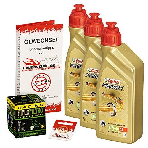 Castrol 10W-40 Öl + HiFlo Ölfilter für Yamaha YZF-R6, 99-05, RJ03 RJ05 RJ09 - Ölwechselset inkl. Motoröl, Racing Filter, Dichtring