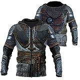 Dixinla Déguisement Viking Costume Knights Templar Hoodies Sweat, 3D Men's Rune Coffee Jacket Slim-Fit Casual Faux Leather Cotton Coats Ziphood Hooded Sweatshirt,Chain Shirt,XL