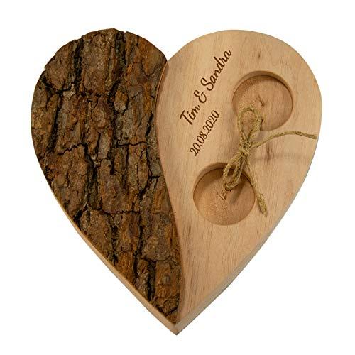 Geschenke 24 Holz Herz für Ringe Rinde Hochzeit personalisiert für Eheringe mit Gravur - Alternatives Ringkissen Holz mit Namen & Datum zur Hochzeit