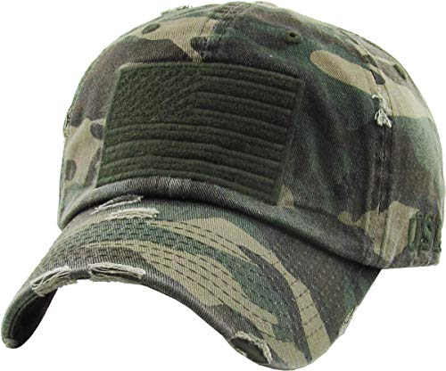 KBVT-209 CAM Tactical Operator with USA Flag Patch US Army Military Baseball Cap Adjustable,(209) Camo