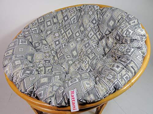 Rattani - Polster, Kissen, Auflage, Ersatzpolster für Rattan Papasansessel, Stoff Peru Gray, D 120 cm, Made in EU