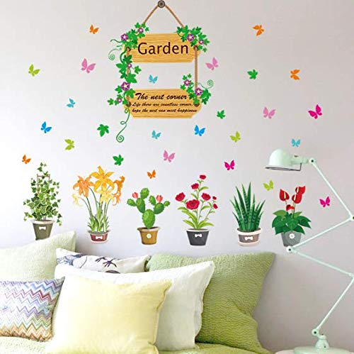 Garden Flowers Floral Butterfly Wall Sticker Tv Background Sofa Home Decoration 3D Effect Decoration