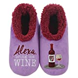 Snoozies Womens Pairables - Funny Slippers for Women - Womens Slippers - House Slippers - Alexa Bring Me Wine - Large