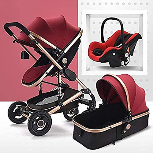 Landaus 3 en 1 Poussette High View Transport Poussette Anti-Shock Baby Basket à Deux Voies du Nouveau-né Travelling bébé Fournitures pour bébé ( Color : Gold Tube-Red )