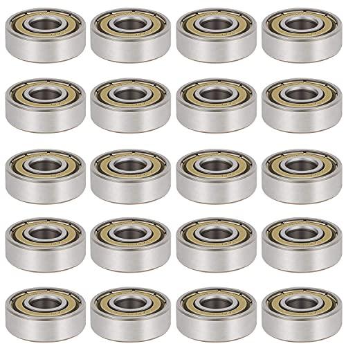 20 Pack 608 ZZ Kugellager, Lagerstahl & Doppeleisen versiegelt Miniatur-Rillenkugellager 608 zz Lager für Skateboards, Inline Skates, Roller, Roller Blade Skates & Long Boards (8mm x 22mm x 7mm)