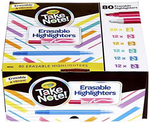 Crayola Erasable Highlighters, Assorted Colors, Bulk School Supplies, 80Count