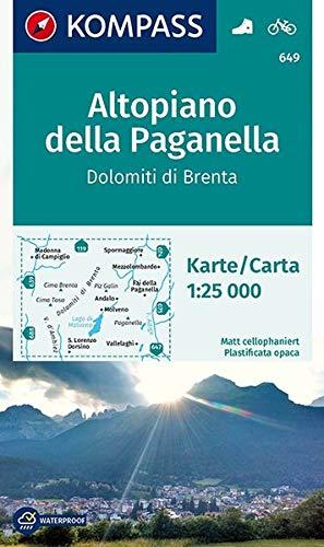 Carta escursionistica n. 649. Altopiano della Paganella, Dolomiti di Brenta 1:25.000: Wanderkarte mit Radrouten. GPS-genau. 1:25000