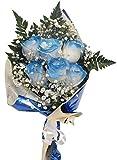 Ramo de rosas azules naturales a domicilio con envío y nota dedicatoria incluido en el precio, es un ramo de seis rosas azules.