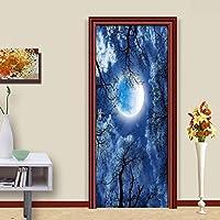 BOXIANGY 家の装飾3Dドアステッカー美しい月空の森の壁紙リビングルームキッチン防水ビニールドア壁画3Dウォールステッカー