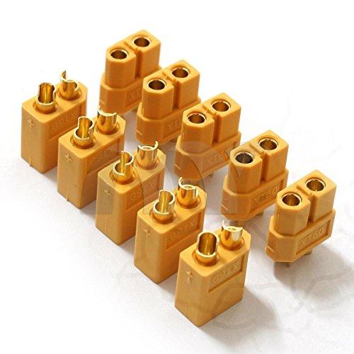 YUNIQUE FRANCE-10 Pièces (5 Paires) Haut Courant Nylon Xt60 Connecteur de Batterie Prise d'or, 2U-XR08-2TY5