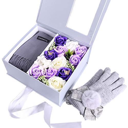 Shhjjpy Dames Warme Sjaal Handschoenen, Rose Gift Box Verpakking, Stuur Vriendinnen Romantische Eeuwige Bloem Gift Geschikt voor Verrassingen Bekening Verjaardagscadeaus Liefhebbers Winter Bib