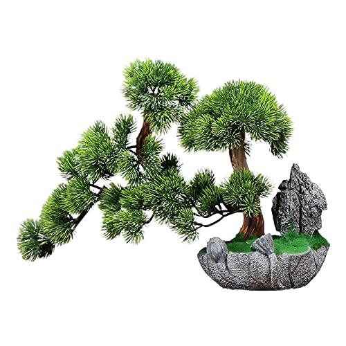 Plantas artificiales Bonsai Artificial Decoración 13.8 pulgadas Faux Potted Skin Desk Spank Pantalla Fake Tree Pot Ornamentos Artificial Bonsai Pine Tree Resin Base tallada para el hogar, Decoración d