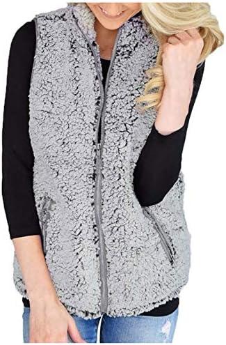 VEKDONE Women Fuzzy Sherpa Fleece Jacket Warm Vest Cozy Sleeveless Cardigan Zipper Waistcoat product image