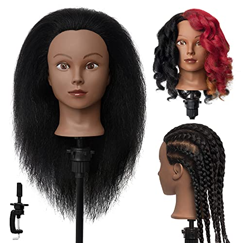 MEIBR Mannequin Head 100% Real Hair 16 inch Styling Training Head Hairdresser Cosmetology Manikin Practice Head Doll Head with Free Clamp Holder (Black)