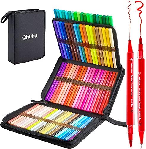 Filzstifte Ohuhu, 80 Farben Dual Brush Pens, Pinselstifte für Aquarell Handlettering, Kalligraphiezeichnung Skizzieren Kolorieren Bullet Journal, Fineliner Stifte Set