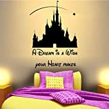 AIPIOR Schloss Wandaufkleber Für Kinderzimmer Mädchen Baby Schlafzimmer Wandtattoo Kinder Kinderzimmer Prinzessin Wohnkultur Wandaufkleber 58x41cm