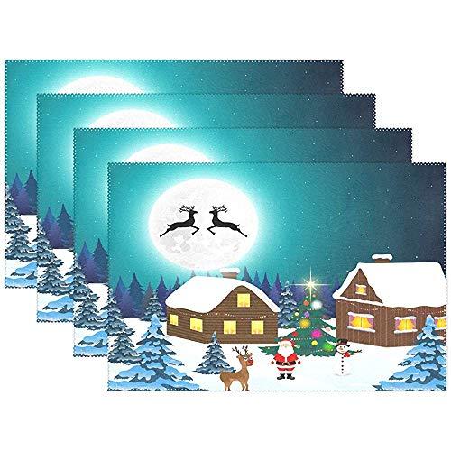 Tovaglietta da tavola in poliestere da notte in lana di cervo di Natale da notte invernale Tovaglietta in poliestere per cucina Sala da pranzo Set di 6, 45X30 cm