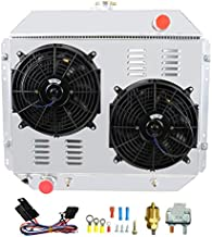 CoolingCare Radiator for 1966-1979 Ford F100 F150 F250 F350 F500 Bronco, Full Aluminum 3 Row Radiator for 1975 1976 1977 1978 1979 Ford Pickup Truck Parts, Radiator+Shroud Fans+Relay