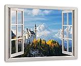 Pixxprint Schloss Neuschwanstein Herbst, Fenster