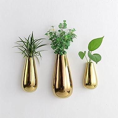 Purzest 3 PCS Gold Ceramic Wall Mounted, Hanging or Freestanding Decorative Flower Planter Vase Holder Display