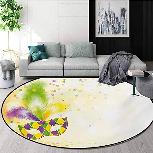 Lowest Prices! RUGSMAT Mardi Gras Carpet Gray Round Area Rug,Festival Mask with Ornamental Feathers ...