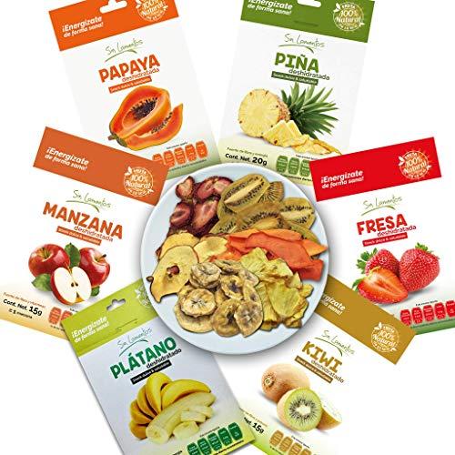 CASA MAREGAL. Snacks De Fruta Deshidratada (12 piezas): Piña, Fresa, Plátano, Manzana, Plátano y Papaya. Sin azúcar añadida.